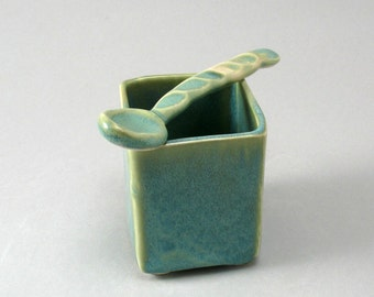 Stoneware Ceramic Salt Cellar-Ceramic Spoon-Jam Jar-Tableware-Square-Pearl Green Glaze-Ready to Ship