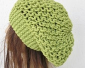 Slouchy Hat  Beanie  Hand Knit Hat  Beehive beret  Neon  Green  womens hat Winter hat   Fall Autumn Winter Spring  Fashion  Accessories