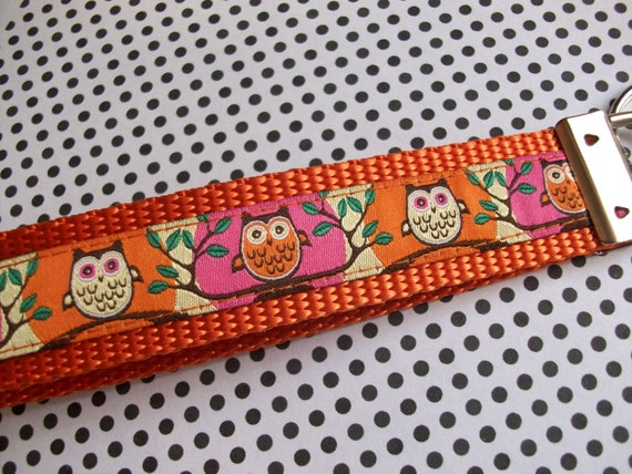 Owls on Orange and Pink, Wrist Keychain Fob