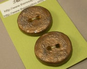 Earthenware Buttons, Round, Textured Metallic