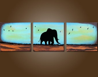 custom dancing with the birds - 36 x 12, acrylic Art PAINTING canvas, gallery wrapped textured elephant