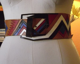 "1970's Vintage Leather Belt navajo Native Blue Red White Conag High waisted 38"" Holes range from 27""-32"""