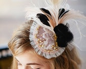 Glamour Girl mini bridal hat in blush pink black ivory gold with feathers