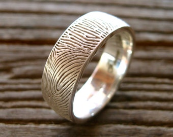 Finger Print Wedding Ring in Sterling Silver with Rounded Profile Matte Finish and Text Engraving Size 12