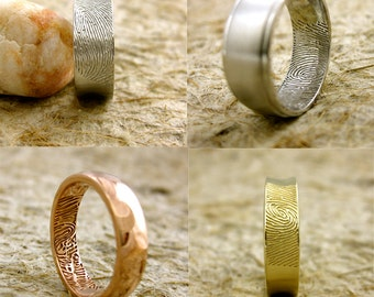 Order Your Hand Crafted Custom Made Finger Print Wedding Ring or Anniversary Gift Here