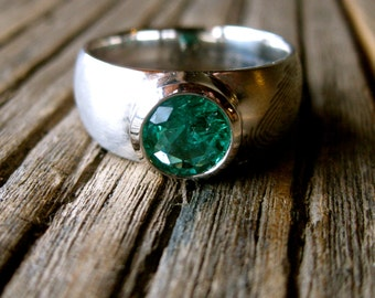 Finger Print Wedding Ring with Large Round Emerald Set in Platinum with Tapered Width Matte Finish and Text Engraving Size 9