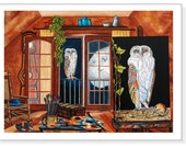 Art Print Still Life Owl Bird Attic Moon Artist Studio Art Giclee from Original Oil Painting The White Owl by k Madison Moore