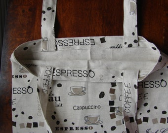 """Organic linen market shopping bag purse tote, 18.5 x 14"""", for a coffee lover"""