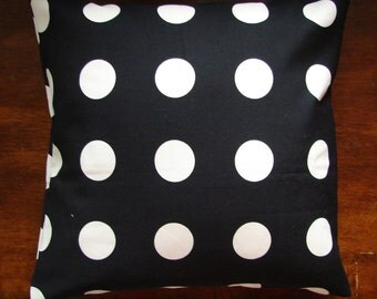 "SALE Modern black pillow from Scandinavian heavy cotton canvas, 18x18"" polka dots, black white, US ship only"