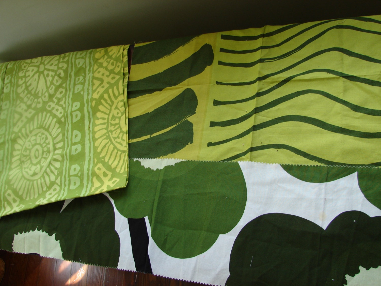Marimekko green fabric remnants silkkikuikka by for Fabric remnants