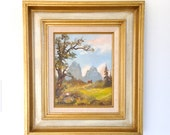 ORiGiNaL SiGNeD FiNe ART PaiNTiNG .   WoNDeRFuL MiD CeNTuRY ALPINE SCeNe . Gertrude Grigorov