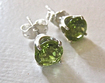 Peridot Stud Earrings, Sterling Silver Studs, Lime Green 6 mm Faceted Stones in Sterling Silver