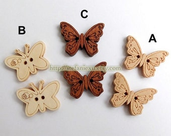 Wooden Buttons, Natural Color - Cute Butterflies, Choose One Pattern (6 in a set)