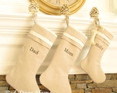 Personalized Linen Christmas Stocking Embroidered Cuff Top Monogram Better Homes and Gardens Natural