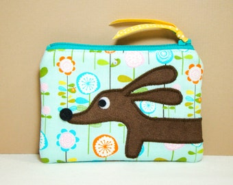Dachshund Wiener Dog Coin Purse - Doxie in the Whimsical Spring Garden in Blue