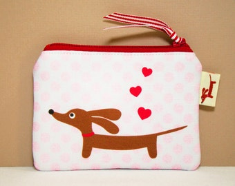 Dachshund Coin Purse - Love a Doxie Valentine Red Hearts Polka Dot - Womens Wallet Accessory