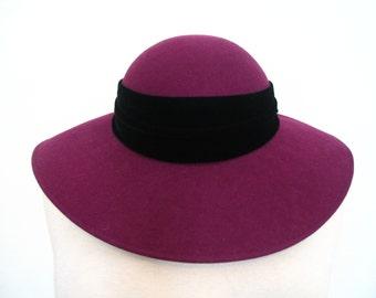 Magenta Wool Wide Brim Hat with Velvet Bow