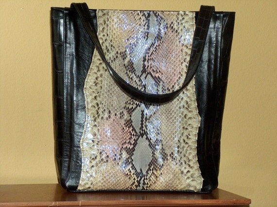 Special Listing for Ann - Python and Leather Small Shopper