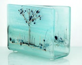 Turquoise Napkin holder, light  blue tree  landscape, Fused Glass art, painting on glass