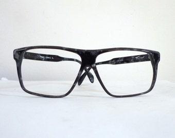 BIG Tura Marbled Wayfarer Eyeglasses Sunglasses Frame Huge Vintage DMC Film Director Designer Eyewear Vintage Modern  MCM sale Blemish