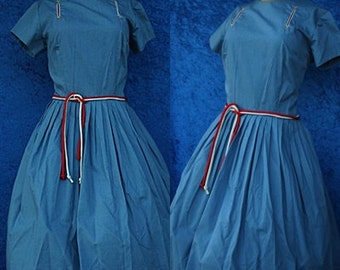 Vintage 50s 1950s 60s 1960s Blue Shirtwaist Pleated Day Mad Men Rockabilly Cotton Summer Dress