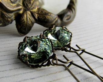 Pale Moss Green Swarovski Crystal Earrings, Chrysolite Crystal Earrings, Bridal Earrings, Bridal Jewelry, Prom Jewelry, Prom Earrings