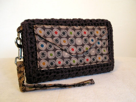 CLEARANCE 50% off, Brown mod dots organizer wallet wristlet