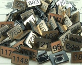 50 Assorted Small Number Tiles, Number Tags Black Gold, Assemblage Mixed Media Art - BlondiesVintage
