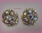 Vintage Rhinestone Earrings Iridescent Aurora Borealis Jewels Colors of the Rainbo
