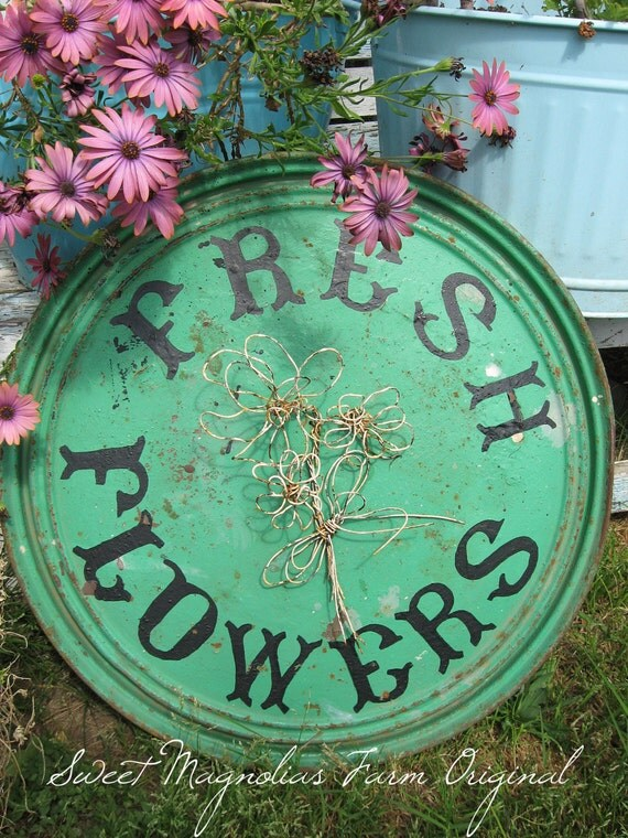 Reserved 4 Margaret Vintage Fresh Flowers Metal Sign - Garden -  Original Chippy Green Paint - Wire Flowers - By: Sweet Magnolias Farm