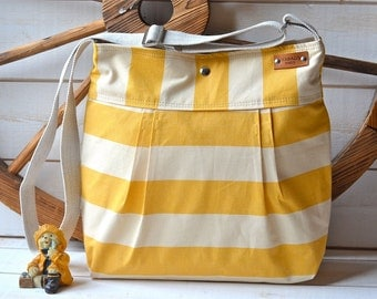 WATERPROOF Diaper bag / Shoulder Bag / Everyday Purse / Sail Tote- STOCKHOLM Yellow and Ecru  Pleated  10 pockets Made to order