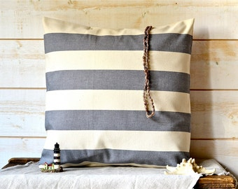 "GRAY Striped pillow cover stripe home decor pillow 16"" x 16"" Eco friendly Gift Under 50 / beige home"