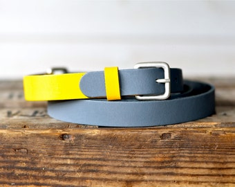 Leather Belt Grey and Yellow  / Women leather belt / Nautical Leather Belt