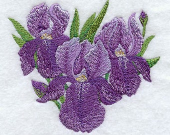 Iris Embroidered Terry Kitchen Towel Bathroom Hand Towel