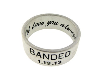 Sterling Silver Duck Band Ring Personalized Wedding Band Hand Stamped Jewelry Banded Custom Engraved Artisan Handmade
