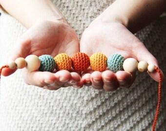 Woodland necklace  - nursing necklace statement jewelry strand necklace - rusteam ohtteam - terracotta pumpkin mustard yelllow moss green