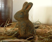 Blackened Beeswax Sitting Bunny  #003