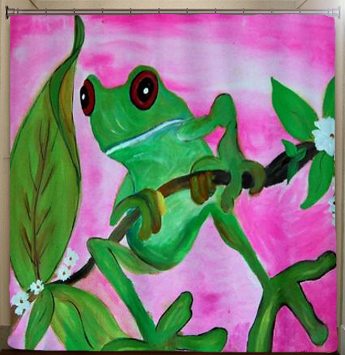 Sassy Frog Art Shower Curtain