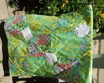 Baby Throw Quilt - Amy Butler designer fabric - Soul Blossom