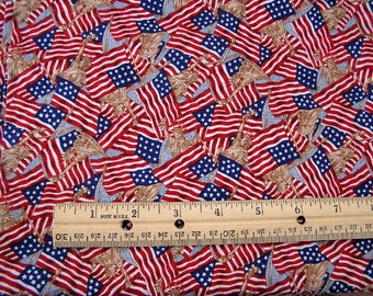 fabric 2 yards patriotic americana military liberty USA flags cotton quilt quilting red white blue 4th of july