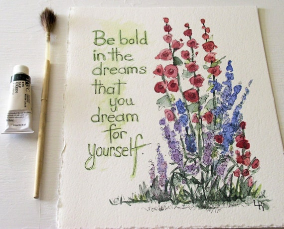 Be Bold Watercolor Original Painting Botanical Woodland Garden Illustration Artwork by Laurie Rohner