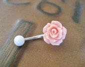 Belly Button Ring Jewelry, Rose Bud Belly Button Ring Coral Pink- Flower Floral Rosebud Navel Jewelry Piercing Bar Barbell