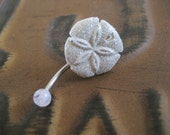 Last One- Belly Button Ring Jewelry Glitter Sand Dollar Jewelry Ring Glittery White Starfish Stud Star Fish Navel Piercing Bar Barbell
