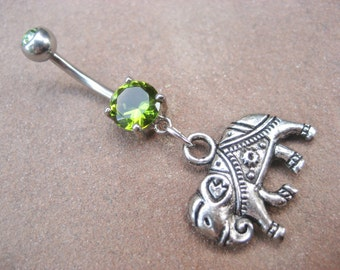 Belly Button Ring Jewelry, Elephant Belly Button Ring- Emerald Green Gem Charm Dangle Navel Piercing Jewelry Belly Button Ring Jewelry