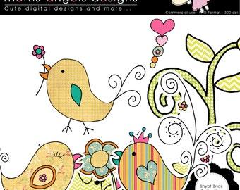 Shiny Birds Cliparts - Commerical Use OK