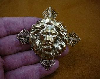 lion head King pride leader love lions filigree cross shaped Victorian repro brass pin pendant B-Lion-357