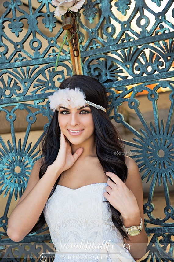 Rhinestone Halo Silk Blush Flower Belt Bridal Headpiece