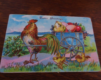 Postcard- Antique Rooster Easter Greetings