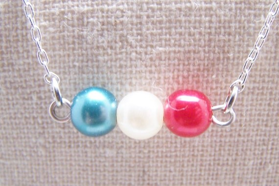 Red White and Blue  Necklace.Patriotic. USA. Summer.Fourth of July. America