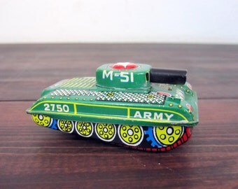 Vintage M-51 Tin Toy Tank Made in Japan / Retro Friction Tin Toy